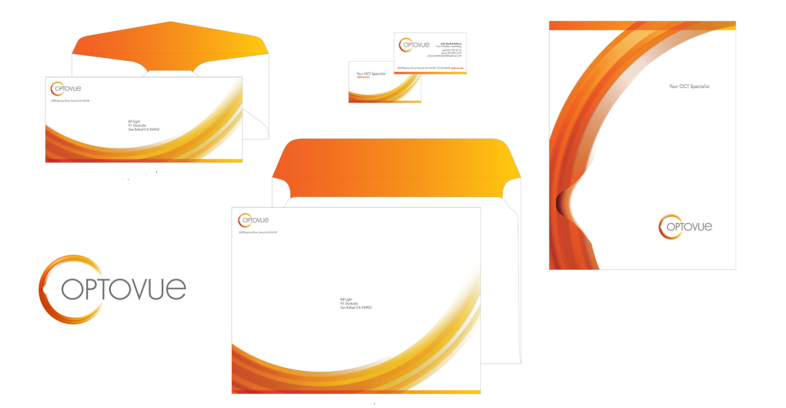 brand identity design created for Optovue by airt group